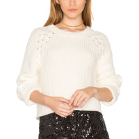 1. STATE Lace Up Shoulder Sweater in Chalk