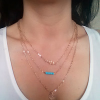 3 layer Chain necklace with Hamsa Charm, Turquoise Beads and Coin Pendant