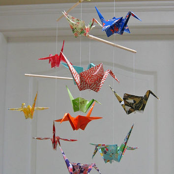 Origami Crane Mobile - Assorted Washi Print Papers - Home Decor