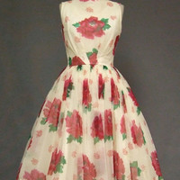 Floating Floral Chiffon 1950's Cocktail Dress VINTAGEOUS VINTAGE CLOTHING