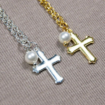 First communion necklace, Tiny Cross Necklace, Baptism Necklace, Small Silver or Gold Cross