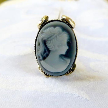 Vintage Cameo Hat Pin, Lapel Pin, Art Nouveau Base, Wedgwood Blue Cameo, Cameo Jewelry