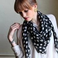 Women's Cute Meow Meow Black Cat Scarf Silky Soft Sheer Shawl