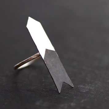 Chevron Arrow Ring - Black and White Collection - Sterling Silver - Made to Order