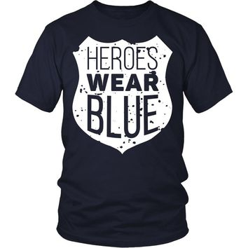 Policemen T Shirt - Heroes wear blue