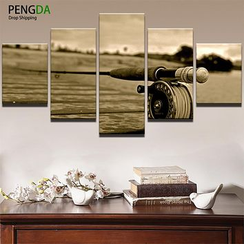 Canvas HD Printed Painting For Living Room Picture Frames Modern Artworks 5 Panel Fishing Rod Poster Wall Art Home Decor PENGDA