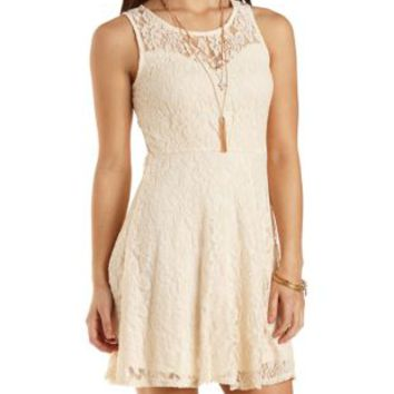 Lace Skater Dress with Sweetheart Neckline - Natural