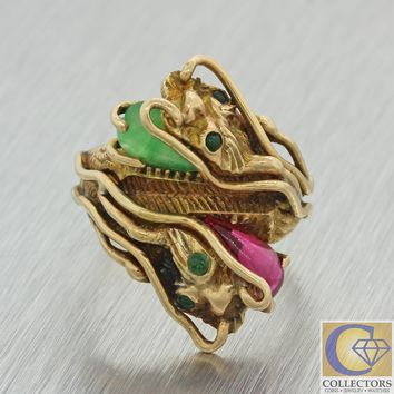 1920s Antique Art Deco 14k Yellow Gold Chinese Dragon Red Green Gem Stone Ring