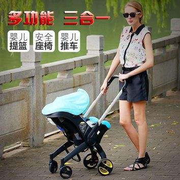 Baby Stroller 3 In 1 Newborn Baby Bassinet Cradle Type Child Safety Seat Baby Carriage Basket Baby Car Travel System