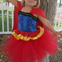 Superhero tutu costume for girls corset top and mask included red blue and yellow