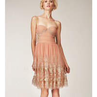 Mignon Spring 2014 Dresses - Salmon, Ivory & Gold Sweetheart Printed Short Prom Dress