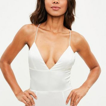 Missguided - White Satin Bodysuit