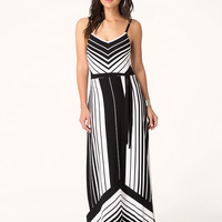 bebe Womens Variegated Maxi Dress Black White