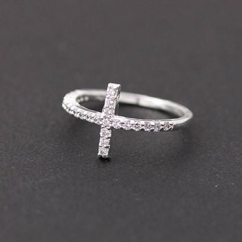 Sideways swarovski cross ring by bythecoco on Etsy