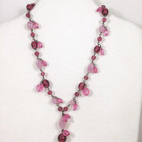 Hot pink glass bead necklace, fucia glass bead necklace, mauve glass bead necklace, pink art glass necklace