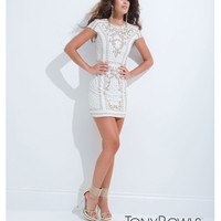 (PRE-ORDER) Tony Bowls 2014 Prom Dresses - White & Gold Jersey Short Sleeve Prom Dress