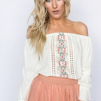 Embroidered Off The Shoulder Blouse In Ivory