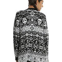 Black & White Skull Fair Isle Girls Flyaway Cardigan