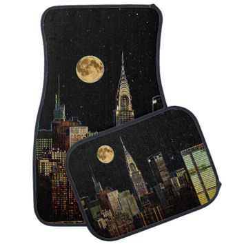 New York Skyline At Night With Full Moon Car Floor Mat