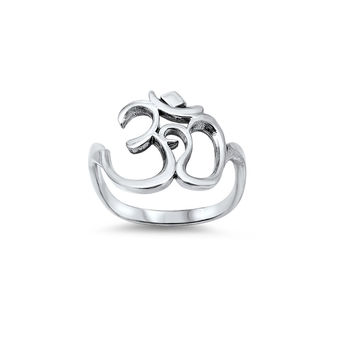 925 Sterling Silver Om Sign Ring 18MM