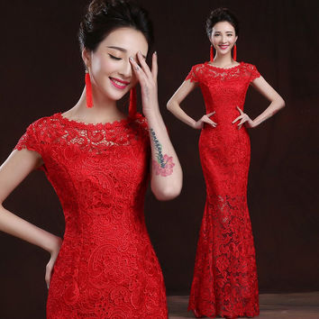 Elegant Lace Mermaid Long Red Prom Dress