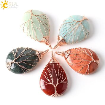 CSJA Men Women Jewelry Rose Gold Color Wire Wrap Natural Amazon Stone Necklace Pendant Water Drop Tree of Life & Free Gift E223