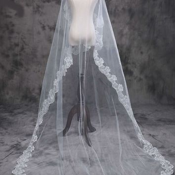 Wedding Veils Lace Applique One Layer Accessory Long Cathedral Bride Veils