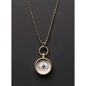 Mini Gold Compass Necklace for Men