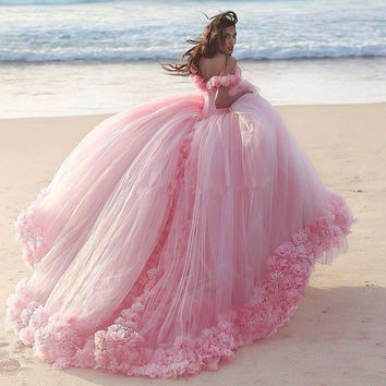 Dress Cloud Pink Ball Gown Wedding Dresses Off the Shoulder Backless African Wedding Gowns vestido de novia plus size 2016