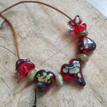 Handmade Jewelry, Valentine's Day Necklace, Lampwork Necklace, Glass Statement Necklace for Her