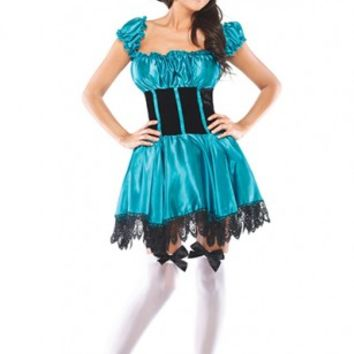 Turquoise Black 3 PC. Mad Hatter Costume @ Amiclubwear costume Online Store,sexy costume,women's costume,christmas costumes,adult christmas costumes,santa claus costumes,fancy dress costumes,halloween costumes,halloween costume ideas,pirate costume,dance
