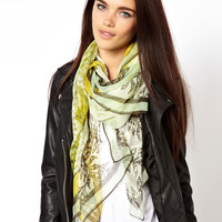 River Island Square Tiger Face Scarf at asos.com