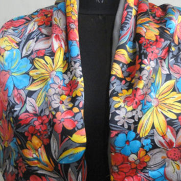 Bespoke Silk Wool reversible/Double Sided Printed Wool Silk scarf/Scarves/60x9 inche/Floral/blue/red/yellow/beige/bright colours/pastel