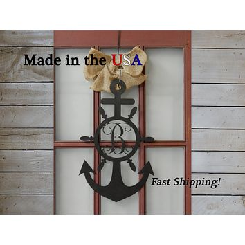 Anchor Door Hanger with Vine Monogram Wheel