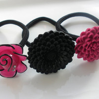 Magical Magenta prom wedding black ponytail holders hairbands hair accessories lot of 3 set rhinestones pink
