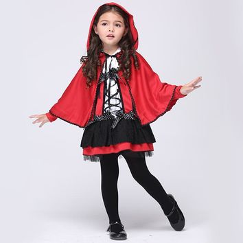 2016 Children Girl Halloween Costumes Girls Red Devil Cosplay Show Children Kids Clothes Little Red Riding Hood Costume
