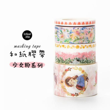 3J201-205 The Pinkie Young Girl Washi Tape DIY Scrapbooking Masking Tape School Office Supply