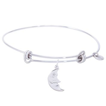 Sterling Silver Balanced Bangle Bracelet With Halfmoon Charm