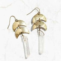 Dripping Moons Crystal Drop Earring
