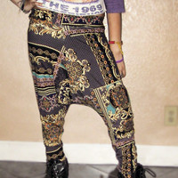 Unisex Versace persian or  Aztec Harem dance pants From WASSS GUCCI by Tinyminey Size Small Medium