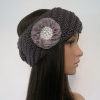 Charcoal Grey Knit Ear Warmer Headband Head Wrap  with Grey Chiffon Flower with Pearl and Rhinestone Accents