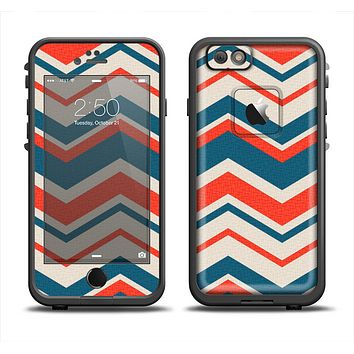 The Red, White and Blue Textile Chevron Pattern Apple iPhone 6 LifeProof Fre Case Skin Set