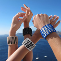 Greek Leather Bracelet, Summer Women Leather Cuff, wide with macrame decoration. Blue on White. NEW. SLC03