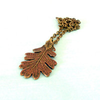 FIRST GIFT of the OAK Woodland Red Leaf Autumn Necklace in Antique Brass & Copper Gilder's Paste from Dryad Dreams