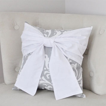 MOTHERS DAY SALE Throw Pillow White Bow on a Gray and White Damask Pillow 14x14 -White Pillow-