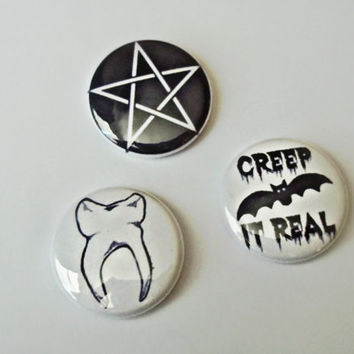 Creep It Real button set - witchy creepy odd girl - tooth button