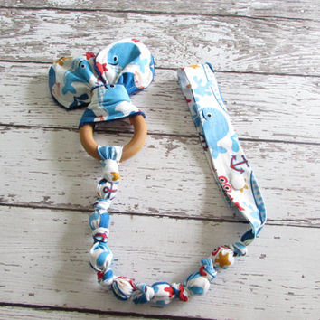 Tula Crabby Abby Snap On Teether. Bunny Ear Teether. Organic Wooden Teether - Ready To Ship