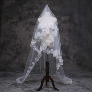 Kiwarm 1 Pcs Bling Bling Wedding Lace Veil Crystal Cathedral Applique Bridal Veil White Ivory Comb Decorative Lace Supplies