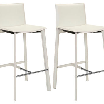 White Collins Leather Barstools, Pair, Bar & Counter Stools