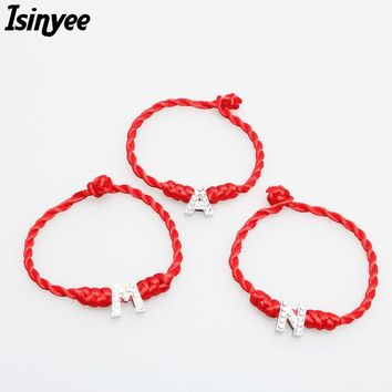 ISINYEE Fashion Red String Thread Lucky Bracelets Crystal English Alphabet Charms for Women Lover Braided Rope Cable Jewelry